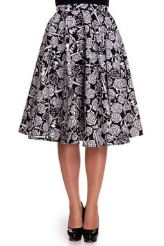 So beautiful bell skirt! There is beautiful roses and anchors in the print.