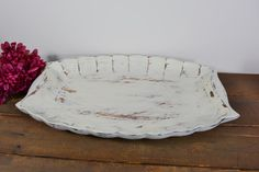 Large Decorative wooden tray / distressed ivory white / by NEWaged, $28.00