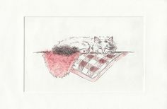 A series of intaglio etchings usingaluminium plate and the coffee lift technique. The series is inspired by Japanese cats I met on my travels. - #printmaking #etching #watercolour #illustration #cat #japanesecat #pink #fluffy #aluminium #alicecourtley