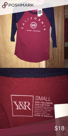 NWT Young and Reckless Reagan T-Shirt NWT Burgundy and Navy Blue Reagan T-Shirt from Pacsun. Size Small, 3 quarter sleeve. And questions or offers comment! ☺️ Young & Reckless Tops Tees - Long Sleeve