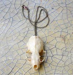 Small Animal Skull Pendant Natural Finish.