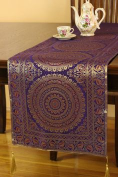 Banarsi Designs Exotic Oriental Table Runner (Plum Purple, X Ethnic Decor, Boho Decor, Earthy Home Decor, Diwali Decorations, Halloween Decorations, Christmas Decorations, Yoga At Home, Scandinavian Bedroom, Plum Purple