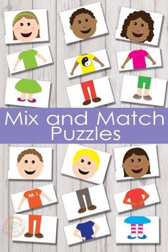 Mix and Match Puzzles {Free Kids Printable} 6 adorable characters and 216 different combinations to make them with these mix and match puzzles! Mix and match puzzles will keep the kids busy for quite a while and they are super fun! Toddler Learning, Preschool Learning, Kindergarten Activities, Preschool Activities, Teaching, Preschool Family Theme, All About Me Preschool Theme, Preschool Social Studies, Body Preschool