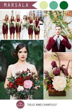 wedding color ideas 2015 - marsala and green wedding color schemes for season 2015