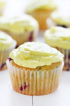 Blueberry zucchini cupcakes with lemon buttercream frosting from @iambaker