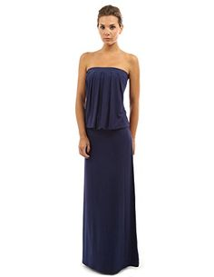 PattyBoutik Womens Strapless Pleated Blouson Maxi Dress Navy Blue S *** BEST VALUE BUY on Amazon
