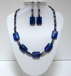 Blue Dichroic Glass Metal Glass Pearl Necklace Set with Earrings and Bracelet, Hand Beaded, Gift for Her,