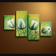 Large Contemporary Wall Art Oil Painting On Canvas Panels Gallery Stretched Tulip Flower. This 4 panels canvas wall art is hand painted by Bo Yi Art Studio, instock - $135. To see more, visit OilPaintingShops.com