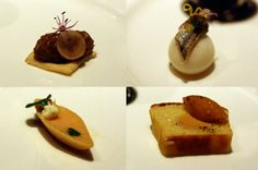 Next: Paris 1906:  from left clockwise pig rillettes, anchovy on a poached quail egg, smoked-salmon mousse, foie gras terrine inside brioche