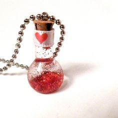Love Potion Valentine's Day Necklace - Beaker Glass Bottle - Red. $24.00, via Etsy. #valentine #jewelry #fashion