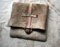 LaTouchables - Symbol of Life, a Small Hand-Stitched Poet's Pouch in Antique Linen and Appliqué, OOAK, Keepsake, Holder of Treasures, Objet d'Art