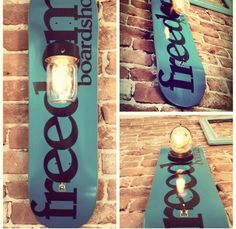 Skateboard lamp/lighting. I made this for my brothers skateboard shop with one of the shop skate decks