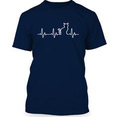 cat heartbeat T-Shirts, Hoodies. CHECK PRICE ==► https://www.sunfrog.com/Pets/cat-heartbeat--NavyBlue-Guys.html?41382