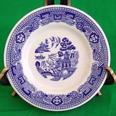 Set of 4 Buffalo China Blue Willow Restaurant Ware ROLL & BUTTER PLATES 5-1/2""