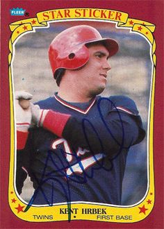 2 Time World Series Champion Kent Hrbek Autograph Minn Twins Hand Signed Sticker Card Hrbek played his entire 14-year baseball career for the Minnesota Twins (1981–1994). Hrbek batted left-handed and