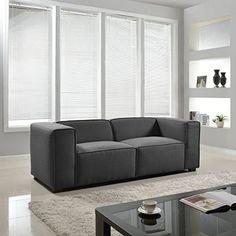 Modern Contemporary Wide Track Arm Sofa - Linen Divano Ro...