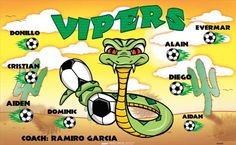 Vipers B55081  digitally printed vinyl soccer sports team banner. Made in the USA and shipped fast by BannersUSA.  You can easily create a similar banner using our Live Designer where you can manipulate ALL of the elements of ANY template.  You can change colors, add/change/remove text and graphics and resize the elements of your design, making it completely your own creation.