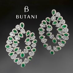 Stand out from the crowd with these luscious green Emerald earrings contrast with sparkling white diamonds #Butani #ButaniJewellery