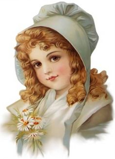 Lovely Bonnet Girl with Daisies Sheet of 8 by naturepoet on Etsy, $3.25