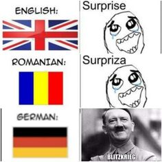 How to say surprise in different languages. Excuse me for the shitty quality, I'm technologically impaired.