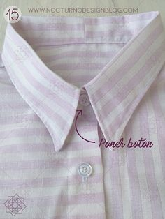 Costura fácil: Camisa a rayas + molde gratis – Nocturno Design Blog Design Blog, Costura Diy, Projects To Try, Tops, Free, Templates, Molde, Sewing Collars, Shirt Sewing Patterns