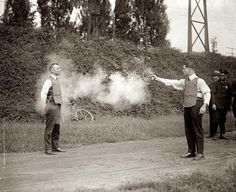 Talk about being trusting. You're literally trusting someone with your life. The testing of the bulletproof vest in 1923 could leave you 'up in smoke.' Since then bulletproof vests have come a long way. But even now it will be hard to find a volunteer to stand there and let you shoot them basically point blank.