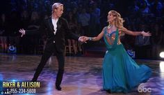 """Dancing With the Stars - Allison Holker & Riker Lynch danced a smooth, sophisticated foxtrot to Maroon 5's """"Sugar"""" - week-2 - season-20 - spring 2015 - score - 8+8+8+ 8 = 32"""