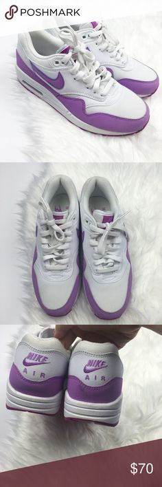 New Nike Air Max White Purple Sneakers Brand new and never worn. Small scuffs as shown in photos. White with purple trim and swoosh. Size 7. No trades!! 08417260tmf Nike Shoes Sneakers