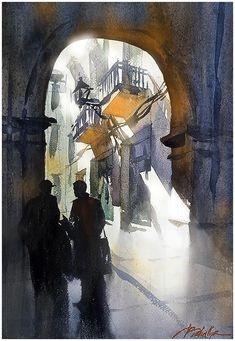 """""""Conversation - Girona"""" Thomas W Schaller - Watercolor. 22x14 inches - 12.03.2015"""