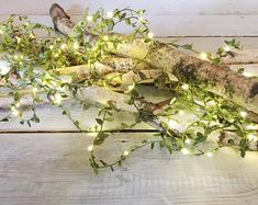 NEW! Long length 5m leaf garland LED fairy string lights rustic wedding decoration summer party event enchanted forest woodland theme