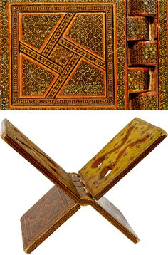 Folding lecterns, or 'rahla', are among the oldest and most valuable furnishings in a mosque. Designed to support a large Qur'an, the Muslim holy book, early rahla were often made of luxury woods such as walnut or teak and decorated with sumptuous inlay or openwork carving. This example is inlaid with wood and gold stars. Purchased from the Church Missionary Society in 1965. (1965.12.46B)