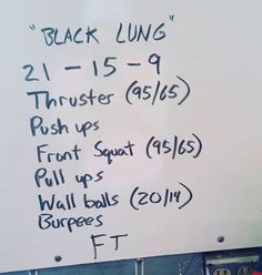 Not sure where this came from, but this WOD looks like a doozy! Crossfit Workouts At Home, Wod Workout, Tabata Workouts, Fit Board Workouts, Easy Workouts, Black Lungs, I Work Out, Excercise, Fitness Inspiration
