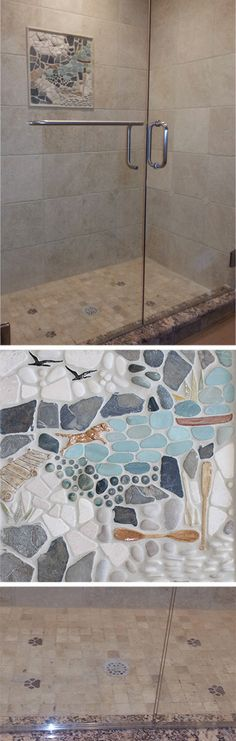 """This collection of photos shows a couple installations we did! In the top photo you can see the stock 18""""x18"""" """"Those Summer Days"""" mural. On the shower floor there are 4 'muddy paws' installed! The 2nd photo is a closer look at the """"Those Summer Days"""" mural. The 3rd is a closer look at the muddy paws on the shower floor! Our client paired this look with a tumbled 12x12 durango limestone and Giallo Veneziano Granite curbs. #wetdogtile"""