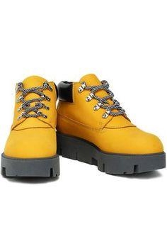 ACNE STUDIOS ACNE STUDIOS WOMAN TINNIE ALU SUEDE PLATFORM ANKLE BOOTS SAFFRON. #acnestudios #shoes