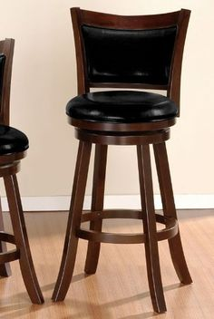 H Swivel Bar Stool with Leatherette Back in Brown Finish by Poundex