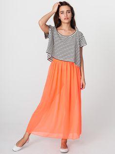 Chiffon Full Length Skirt | Colorful Chiffon | New & Now's Women | American Apparel