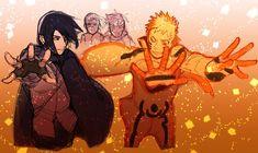 Sasuke, Naruto, Boruto, and Sarada Naruto Vs Sasuke, Anime Naruto, Susanoo Kakashi, Naruto Fan Art, Naruto Shippuden Anime, Manga Anime, Boruto And Sarada, Sasunaru, Narusasu
