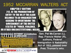 The Communist Manifesto: .Islam, by law, is prohibited from US immigration - 1952 McCarran Walters ACT