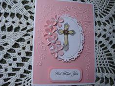 Homemade Baptism Card Christening Card Baby Girl by CardsbyEileen