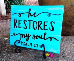 Psalm 23:3 He restores my soul painting on canvas