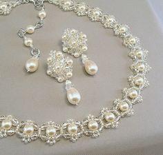 Wedding Necklace and Earring Set Backdrop by BridalDiamantes