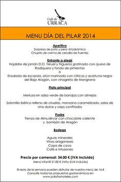 Menú Fiestas del Pilar 2014 en Café de urraca