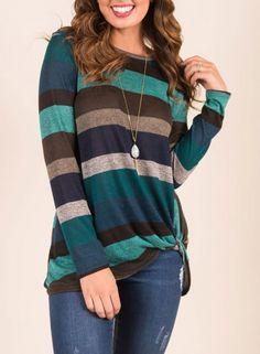 aa3e8fa9c26 striped-long-sleeve-irregular-twist-top-t-shirt T