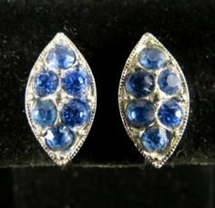Bogoff Signed Earrings Vintage Silver Tone Blue Rhinestones | eBay