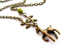 Fawn Deer Necklace with Brass Twigs and Olive Glass by heversonart, #woodland jewelry #nature #jewelry #vintagestyle, brass deer, olive green Czech glass, fawn #necklace #deer jewelry