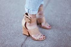 Chunky heeled sandals #fashion #heels