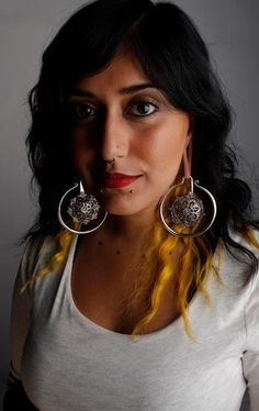 Christine Jairamsingh wearing Silver Crop Circles by Maya Jewelry. #christinejairamsingh #jewelry #silver #mua #girlswithstretchedears #stretchedlobes #mayawarrior #earweights #autumnswisher www.mayajewelry.com