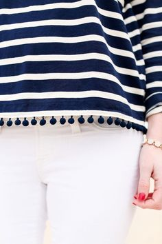 Stylist: pom poms & stripes. These details are so cute but not overwhelming! Love things like this for my wardrobe.