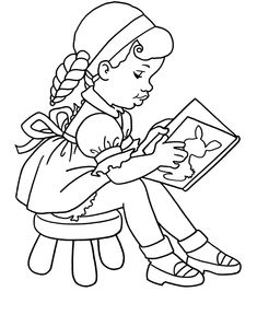 Child Coloring: Coloring girl studying
