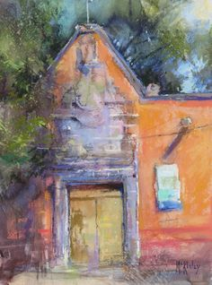 Sanctuary Entrance (12×9, pastel) was painted en plein air in San Miguel de Allen. Richard McKinley, ArtistsNetwork.com #pastel #art #painting #Mexico